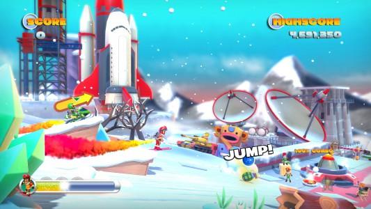 Ski-Stuntman: Joe darf nun auch sein Geschick auf Skiern unter Beweis stellen.